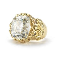 Rene Boivin 11.22 Carat Cushion-Cut Diamond Yellow Gold Ring | From a unique collection of vintage engagement rings at http://www.1stdibs.com/jewelry/rings/engagement-rings/