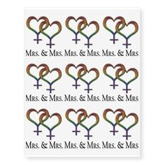 Mrs. and Mrs. Lesbian Pride Temporary Tattoos best personalized custom printed wedding temporary tattoos. Use for bachelorette parties or wedding favors. A fun way to personalize your wedding.