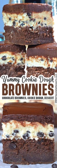Cookie Dough Brownies are fudgy brownies topped with chocolate chip cookie dough and a thick layer of rich chocolate ganache. This delicious dessert recipe is a party for your taste buds! #chocolate #brownies Cookie Dough Brownies, Fudgy Brownies, Chocolate Chip Cookie Dough, Chocolate Brownies, Chocolate Ganache, Chocolate Desserts, No Bake Desserts, Delicious Desserts, Dessert Recipes