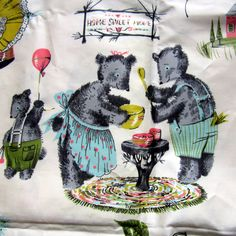 Vintage fabric Goldilocks 3 Bears Fabric by nanascottagehouse, love to know the artist