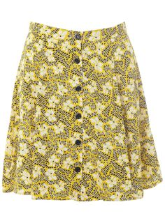 Yellow squiggle printed button though mini skirt.