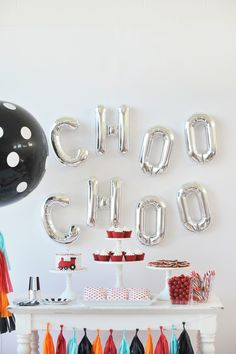 Modern Choo Choo Train Childrens Birthday Party Theme. Train Birthday Party Dessert Table. Boys Birthday Party Ideas. Styling By Happy Wish Company. Photography by Tammy Hughes Photography.