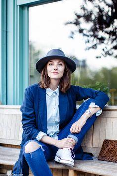 Menswear inspired fashion. Cute hat .