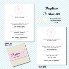 BAPTISM  INVITATIONS  pink border border with dots on Etsy, $26.00
