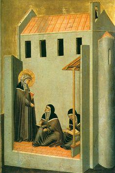 Pietro Lorenzetti (c. 1280 - 1348)  Humilitas Dictates Her Sermons  Gold and tempera on panel, 1316  Galleria degli Uffizi, Florence, Italy