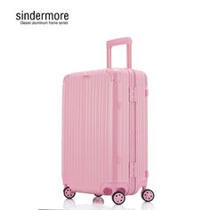 175.00$  Buy here - http://ali1u7.worldwells.pw/go.php?t=32788765303 - sindermore 20 24 26 29 Classic aluminum frame Silent casters Fashion women Pink violet white red Trolley case suitcase