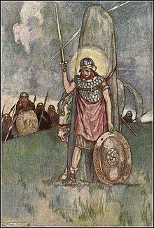 2. 'Cúchulainn comes at last to his death' by Stephen Reid dates from 1909 (not 1904 as widely reported). It depicts a youthful warrior strapped to a standing stone, sword and shield in hand, the 'hero's light' around his head. Líath Macha, one of his two horses, paws the ground behind the stone while his enemies lurk in the background. The depiction is based on the earlier version of Cúchulainn's death-tale. First published in Eleanor Hull's The Boys Cúchulainn (c.1910).