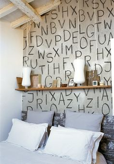 nice wallpaper with chalkboard letters. nice to combine with chalkboard paint ?