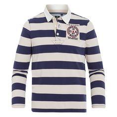 "Rugby Shirt Bail - Maritime rugby shirt made of high-quality cotton with block stripes and maritime detail on the chest. Perfect for creating elegant, sporty ""yacht club"" looks, whether it's by the water or in the city."