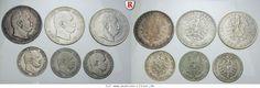 RITTER Preussen, Wilhelm I., 3x 5 Mark, 3x 2 Mark 1876-1877, 6 Münzen, J. 96-97 #coins