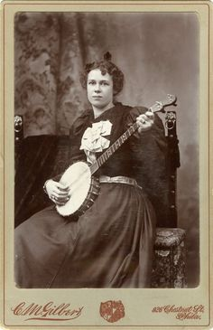 cc. 1880-1900's, [carte de visite portrait of a lady with her banjo], C.M. Gilbert  via Jeffery Kraus, Antique Photographics