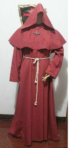 Red Friar Medieval Monk Robe Renaissance Priest Hooded Cloak Cape Costume Sz:L