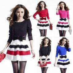 Women's Round Neck Long Sleeve Bubble Dress with Waistband