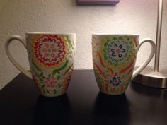 Hand painted floral mugs (set of two)
