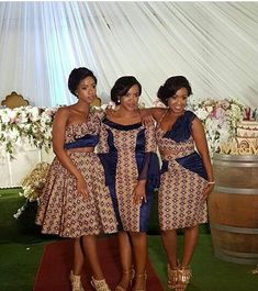 African Shweshwe Fashion Traditional Clothing, African-style clothing did not limit these clothes to traditional meaning and appearance, but rather a great African Print Wedding Dress, African Bridesmaid Dresses, African Print Dress Designs, African Wedding Attire, African Attire, African Fashion Dresses, African Dress, African Wear, African Weddings