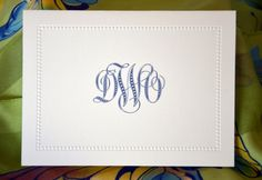 This example of a thank you note was personalized with our Austin bride's monogram. We selected this monogram style to perfectly match the bead work on the paneled frame. Although this thank you note was for wedding gifts, a note like this could be used after a job interview, Christmas presents, a  note of sympathy or even a baby shower.