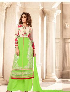 Mint Green And Beige Poly Georgette Salwar Kameez $44.24 For order whtsap at 9582233490 #mint #green #beige #polygerogette #indian #wedding #partywear #online #shopping #fashionumang
