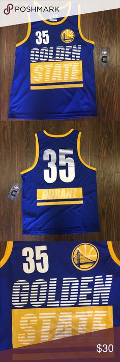 Golden State Warriors Kevin Durant Youth Jersey Brand : UNK x NBA  Color:  Blue/Yellow  Size : Youth Large (14-16)   Material : Polyester  Team : Golden State Warriors  Player : Kevin Durant   BRAND NEW WITH TAGS UNK x NBA Shirts & Tops Tank Tops