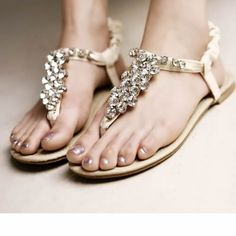 Sparkly Ivory Flat Wedding Bridal Party Evening Fashion Thong Sandals SKU-1091343
