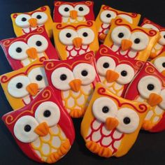 Cute Little Red & Yellow Owls Decorated Sugar Cookies - 12 Pieces by KJ Cookies on Gourmly