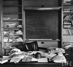 Photos of Albert Einstein's office, taken the day he died.