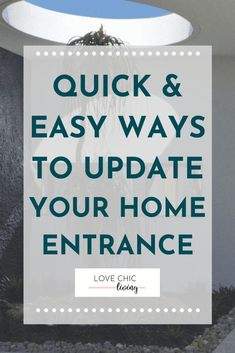 Here are 7 easy ways to update the entrance to your home without blowing your budget! These home entrance ideas will inspire you to revamp the entryway to your home and create a whole new look for the front of your house with quick home entrance decor changes or home entrance security and new outdoor lighting for the home entrance #lovechicliving Home Entrance Decor, Entrance Ideas, House Entrance, Contemporary Garden Rooms, Outdoor Lighting, Entryway, Budget, Inspire, Create