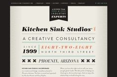 Vintage newspaper web site design: www.kitchensinkstudios.com