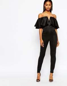 Boohoo Off The Shoulder Frill Ruffle black Jumpsuit
