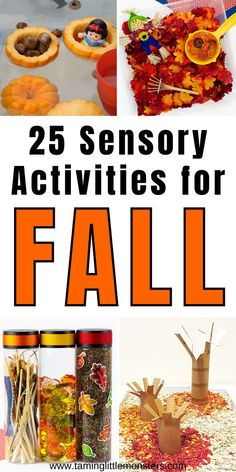 25 Fall sensory activities for kids. Are you looking for Fall or Autumn activities to do with your toddlers and preschoolers? These sensory play ideas are perfect for letting kids explore the colors, textures and wonders of the changing seasons. #fall #autumn #sensory #toddlers #preschooler Fall Activities For Toddlers, Preschool Art Activities, Apple Activities, Sensory Play Recipes, Fall Snacks, Play Ideas, Craft Ideas, Autumn Ideas, Sensory Bins