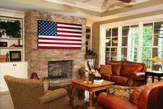 Inspiration: American wood flag hanging above fireplace
