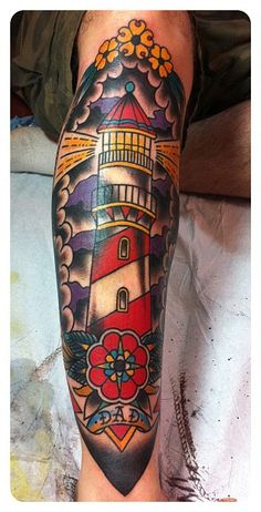 lighthouse tattoo - would TOTALLY get this for my dad. To me it says my dad is my beacon, my protection.
