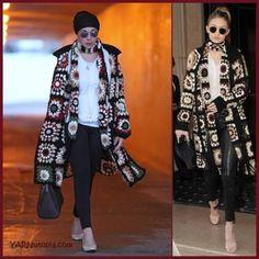 Designer, Rosetta Getty, created The Granny Square Mixed Media Cardigan. Pull Crochet, Crochet Coat, Crochet Cardigan Pattern, Crochet Jacket, Crochet Clothes, Crochet Sweaters, Crochet Granny, Crotchet, Free Crochet