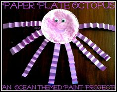 Paper Plate Octopus - a fun ocean themed painting project for your littlest explorer - House of Burke