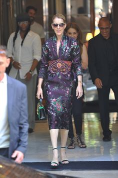 47b97c4ab494 Celine Dion was spotted leaving a hotel in Paris in a silk floral midi  dress