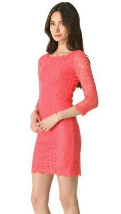 3/4 sleeve coral lace dress