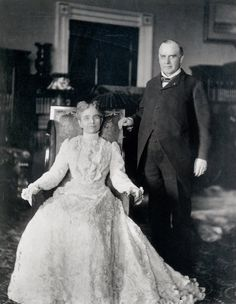 First Ladies Through The Years  - President William McKinley and First Lady Ida McKinley looking somber.