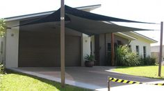 Shade sails over carport or patio Outdoor Shade, Patio Shade, Pergola Shade, Metal Pergola, Awning Shade, Patio Roof, Backyard Patio, Pergola Roof, Patio Sails