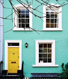 Best Exterior Paint Colors For House Yellow Turquoise Door Ideas Yellow House Exterior, Exterior Paint Colors For House, Paint Colors For Home, Exterior Colors, Exterior Design, Teal House, Paint Colours, Yellow Turquoise, Bright Yellow