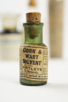 Vintage Antique Apothecary Pharmacy Chemist Bottle Corn and Wart Solvent Hartleys the Chemist c1900s by TheLotAntiquesandArt
