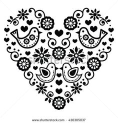 Folk Embroidery Folk art Saint Valentin coeur-amour, mariages, les anniversaires cliparts… - Vector black folk heart with flowers and birds isolated on white Hungarian Embroidery, Folk Embroidery, Learn Embroidery, Embroidery Patterns, Machine Embroidery, Bordado Popular, Scandinavian Folk Art, Valentines Day Hearts, Antique Quilts