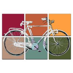 Retro Bicycle Six Panel Canvas Giclee designed by tronaHUE.  Individual Panel Size: 12 x 12