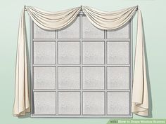How to Drape Window Scarves. A window scarf, smartly hung, can highlight an entire room. Use a window scarf to cover up a curtain rod, or install scarf hooks to hang a window. Hanging Drapes, Canopy Bed Curtains, Scarf Curtains, Drapes Curtains, Curtains Living, Bedroom Drapes, Valances, Drapery, Master Bedroom