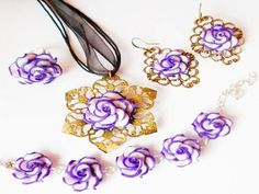 Jewelry sets polymer clay for woman by Monybijoux on Etsy