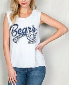 White shredded slashed torn cutout bears basket ball tank top new sporty team js tanktop casual blue grey Cute Summer Outfits, Cool Outfits, Casual Outfits, Fashion Outfits, Dinner Wear, Dinner Outfits, Basic Style, Trendy Style, Native American Fashion