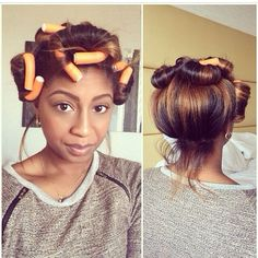 Push hair to the crown of your head with flexi rods to ensure body towards the back of your head.