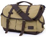 Large Canvas & Leather Travel Messenger Bag