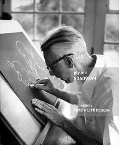 Nearly blind humorist James Thurber drawing one of his famous cartoon sketches, at home. Get premium, high resolution news photos at Getty Images James Thurber, Famous Cartoons, Cartoon Sketches, Author, Inspirational Quotes, Culture, Archive, Drawings, Books