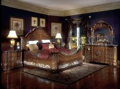 King Poster Canopy Bed Marble top 5 piece Bedroom Set | Bedrooms
