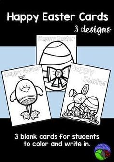 BLANK EASTER CARDS - color and write!
