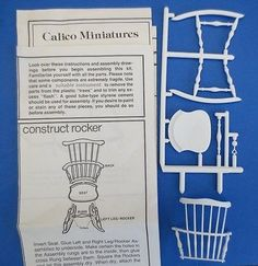 Miniature Dollhouse Calico White Rocking Chair Diy Craft Kit